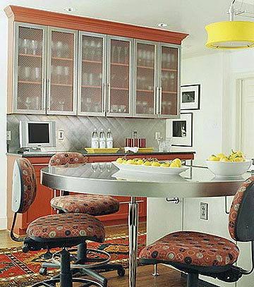 kitchen with red and yellow accents