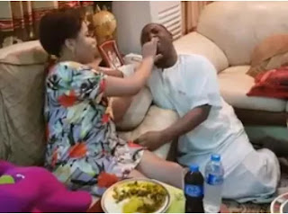 FFK shares photo of his wife, Precious, feeding him Oha soup at their home