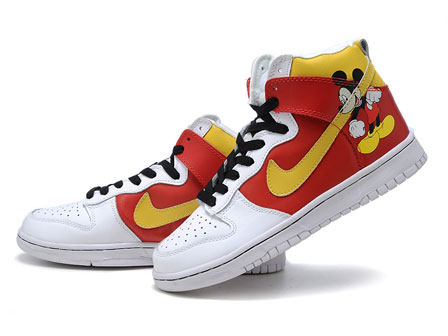 best value 8a3e1 2d134 disney custom nike mickey mouse high tops red yellow white shoe