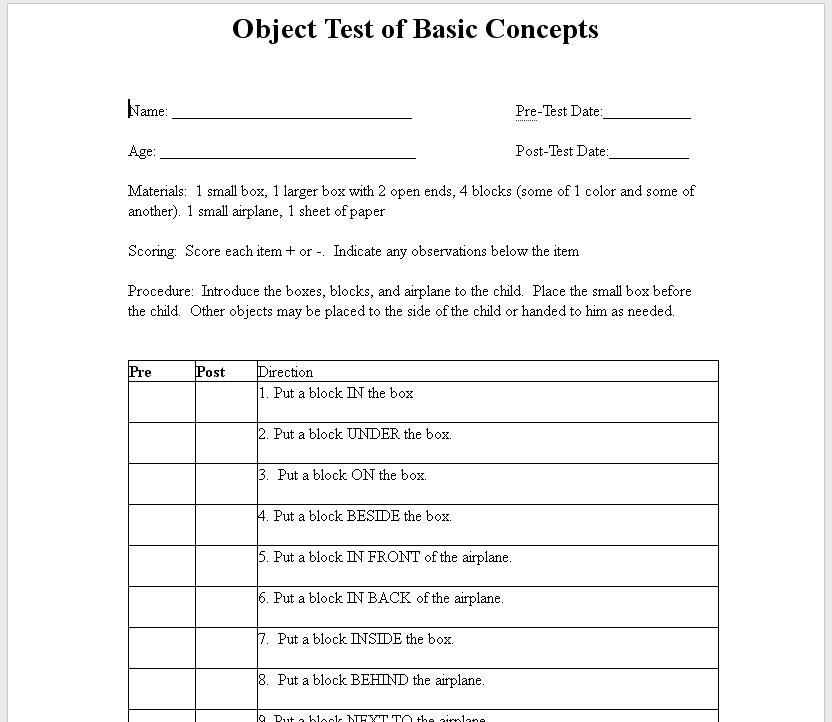 Chapel Hill Snippets Object Test Of Basic Concepts