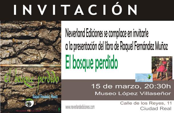 """Invitación para la presentación de """"El bosque perdido"""" de Raquel Fernández Muñoz"""