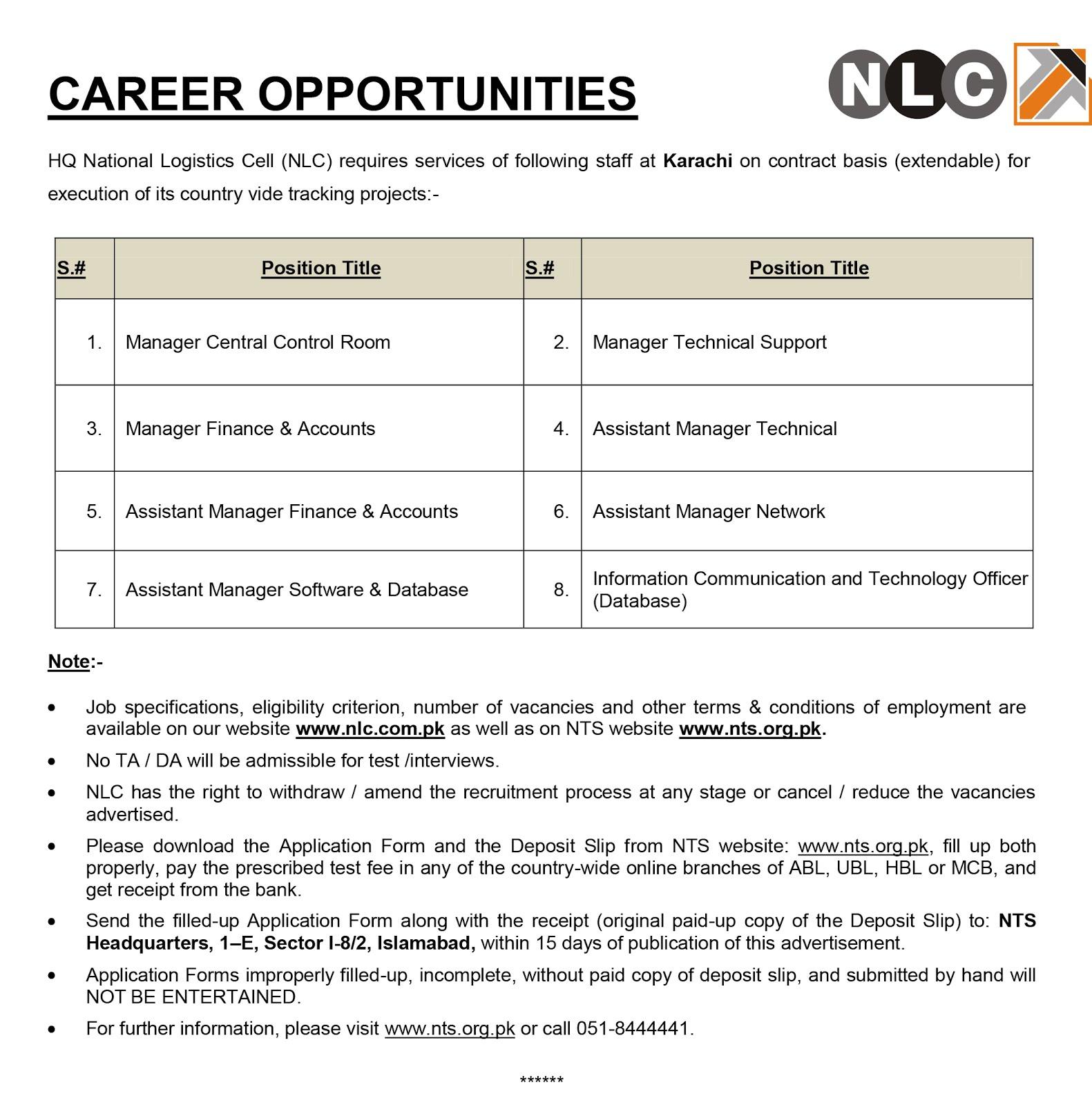 jobs in national logistics cell karachi dec 2016