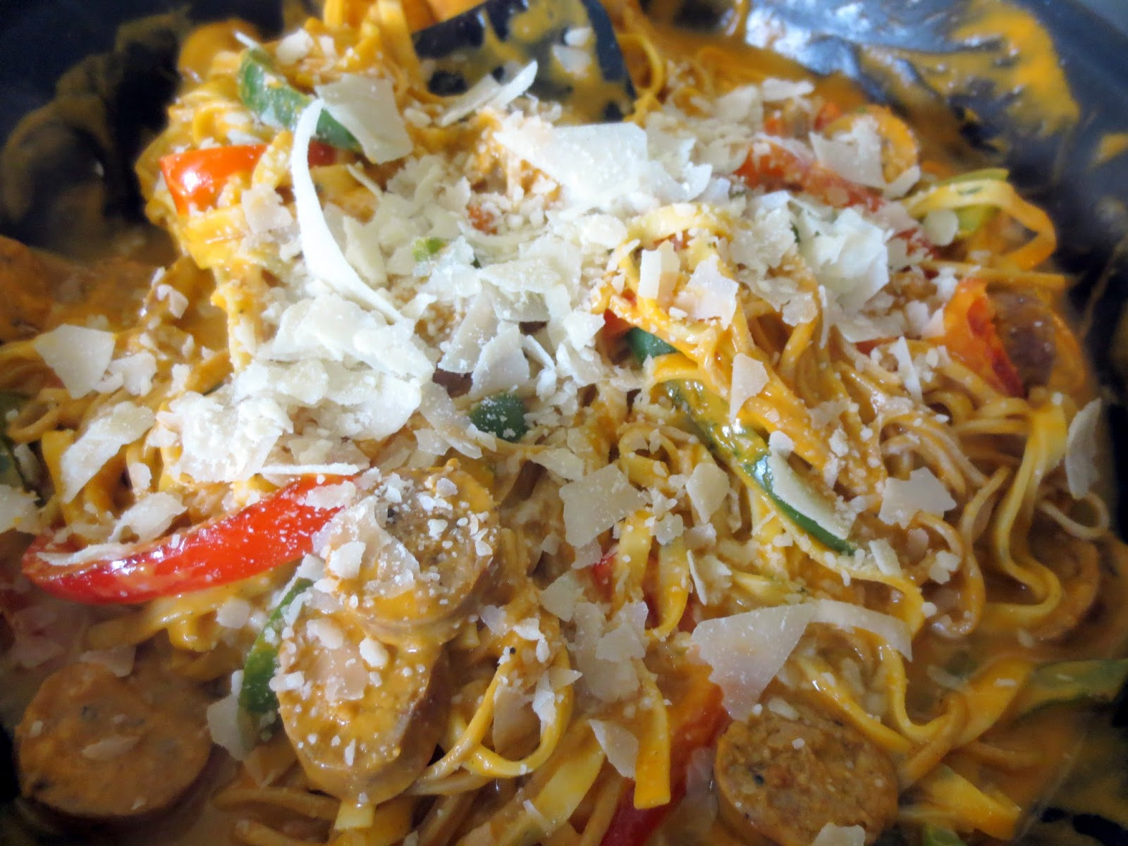 ... Italian Sausage and Pepper pasta with Creamy Tomato Sauce (in a