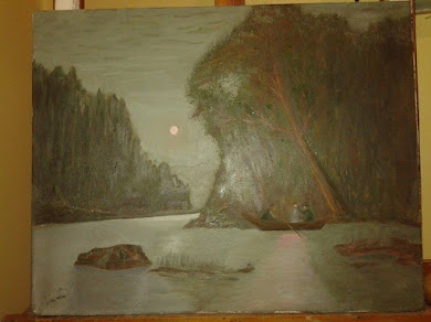ribarenje na mesečini-ulje na platnu 40 x 50 cm-umetnik vladisav art bogićević