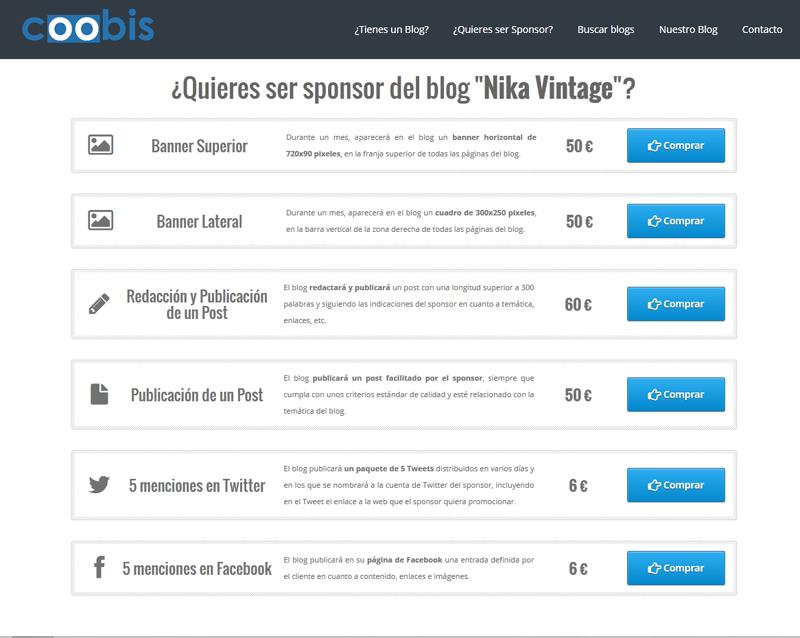 sponsor sponsorizacion monetizacion coobis nika vintage blog patrocinar patrocinador anunciante tarifas anuncios