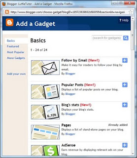 Cara Menambahkan Gadget Di Blogspot