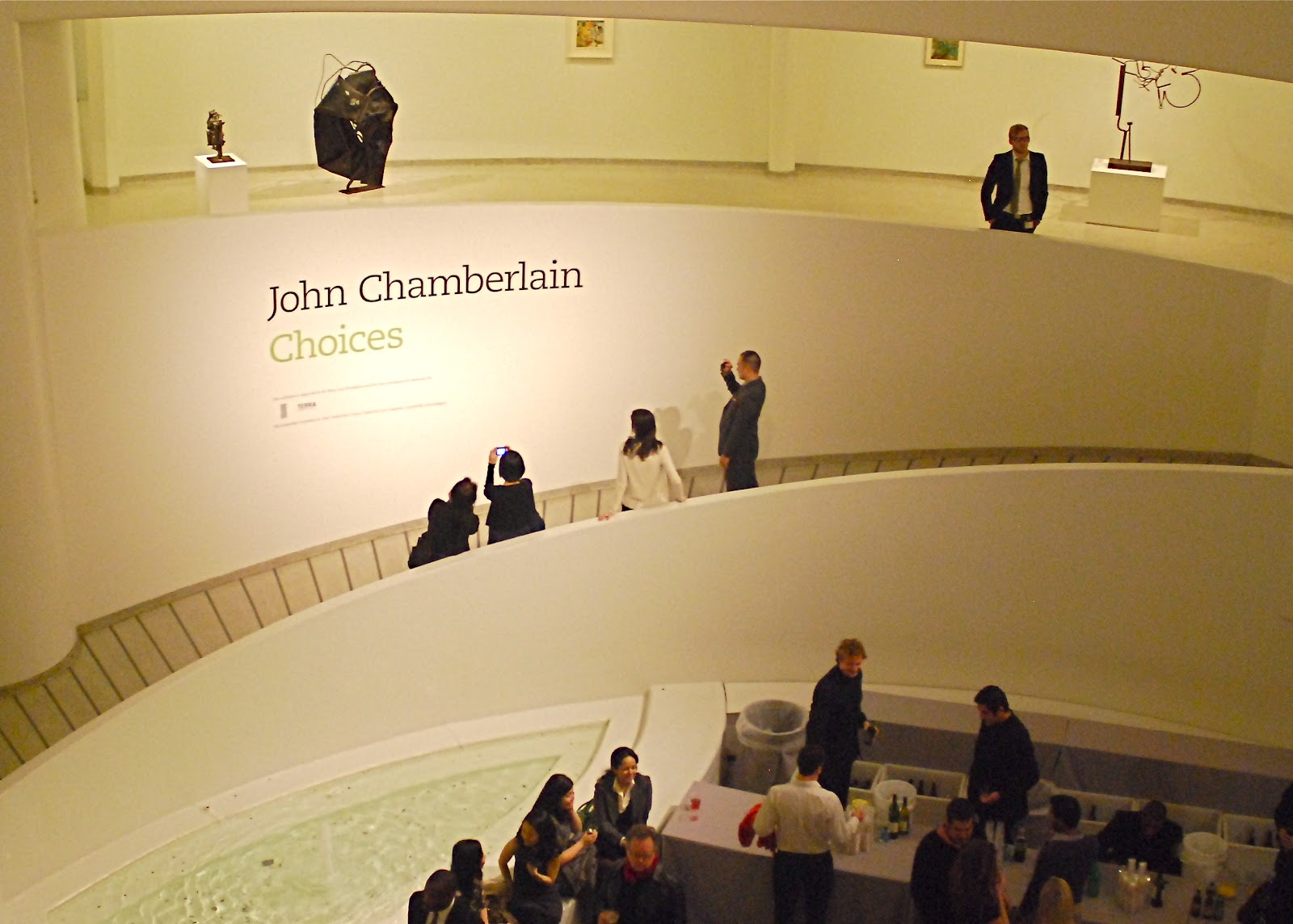 night at the museum opening of john chamberlain s car metal sculpture restrospective exhibition at the guggenheim museum
