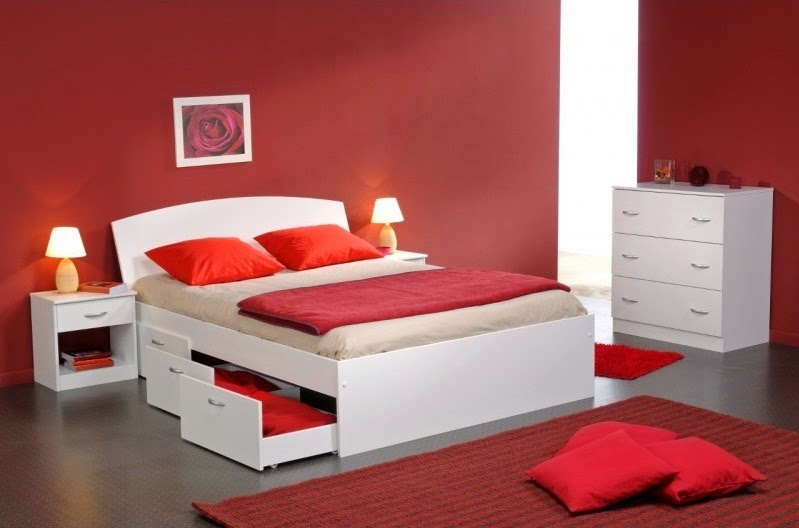 d coration chambre adulte rouge et blanc. Black Bedroom Furniture Sets. Home Design Ideas