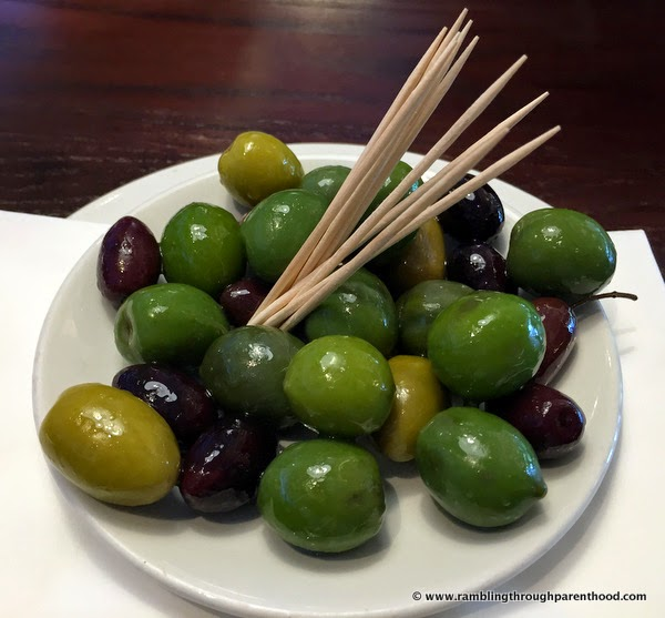 Getting stuck into the olives at Bella Italia