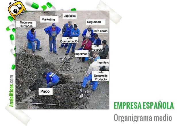 Chiste de la Crisis: Organigrama Empresa Española