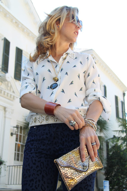Zara Bird Shirt, Pants, and Belt, Cole Haan Shoes from Constance Consignment, JJ Winters from Lipp Boutique, Necklace from Scout & Molly's, Blinde Sunglasses, the Green Boundary Club, Aiken, SC, the Queen City Style
