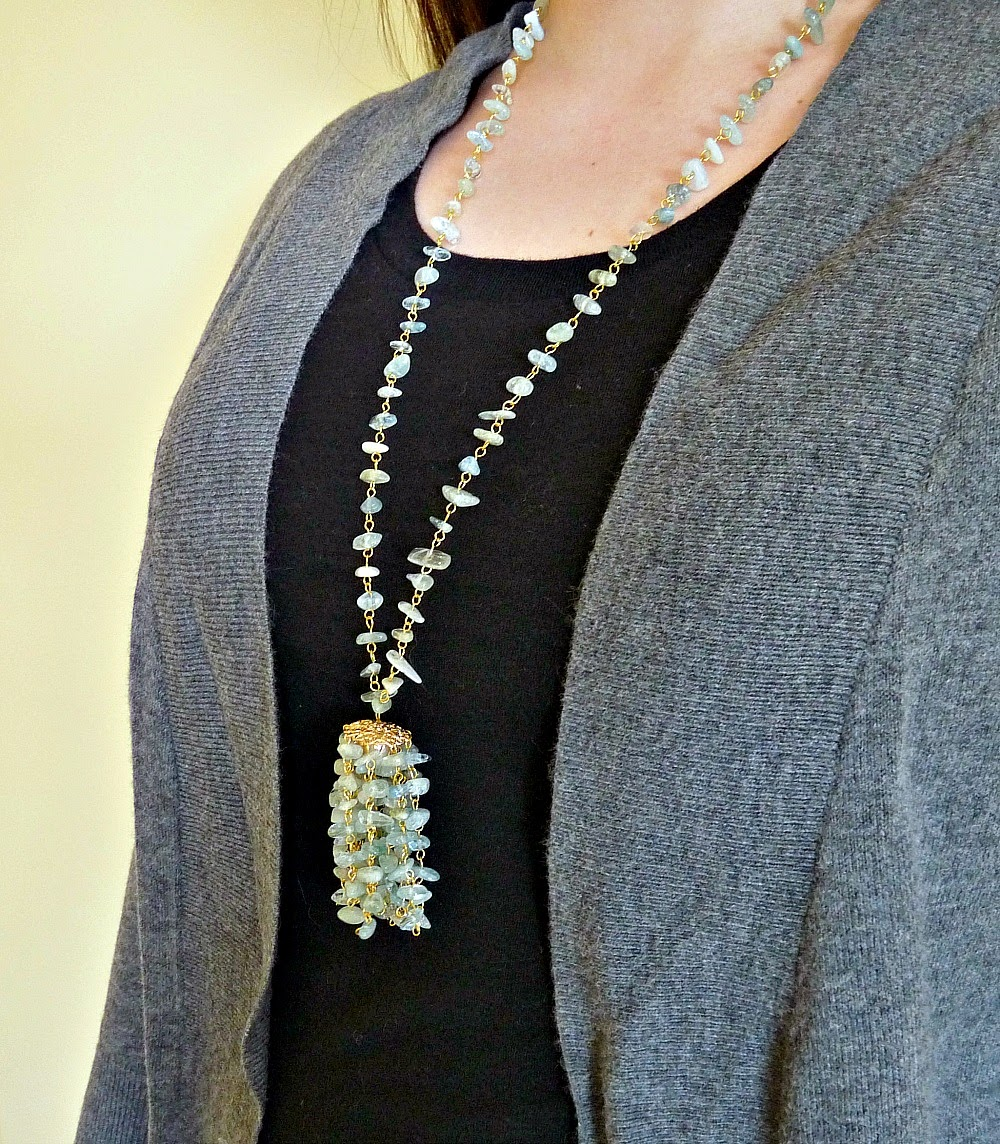 Easy DIY Beaded Aquamarine Chip Tassel Necklace