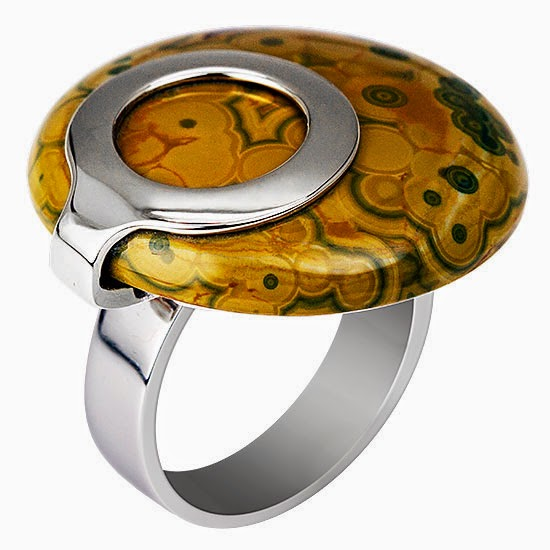 CONTEMPORARY GOLD AND SILVER NATURAL GEMSTONE RING