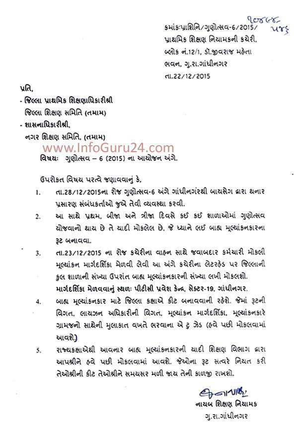 InfoGuru24.com...Primary Education Department Circular - Dt. 22-12-2015