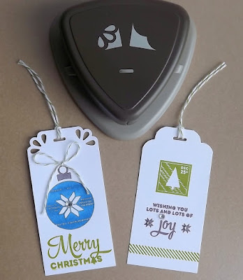 Stampin' Up! Curvy Corner Trio Punch Christmas tags