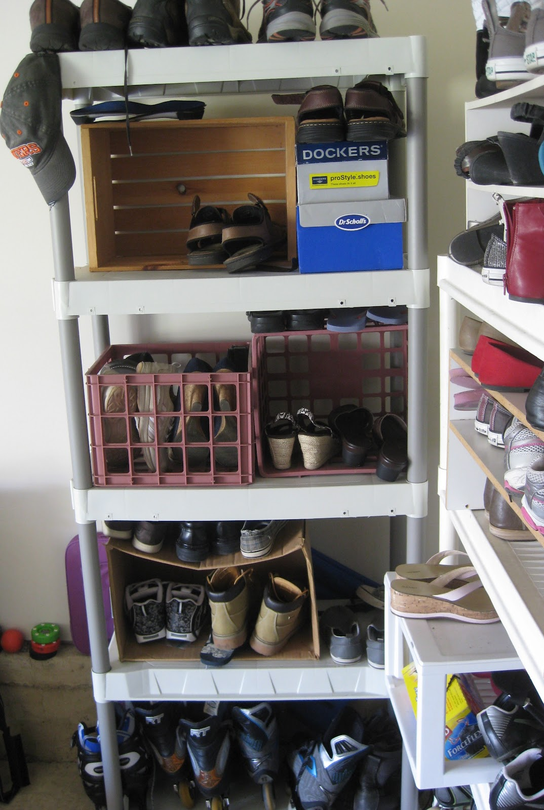 Easy Shoe Storage With A Repurposed Wine Rack