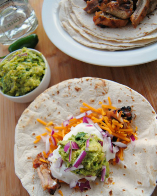 Tequila Marinated Grilled Chicken + Guacamole Tacos