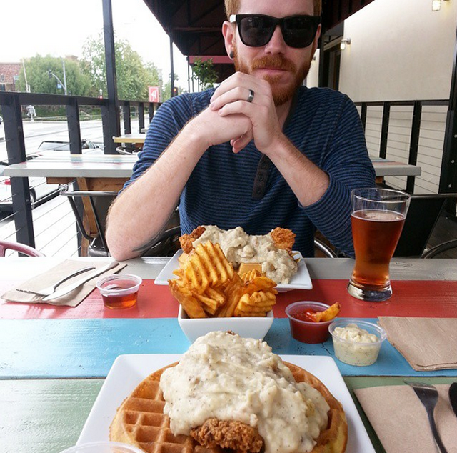 """Country Style"" southern chicken and waffles at The Iron Press at the Anaheim Packing House in Anaheim, California"