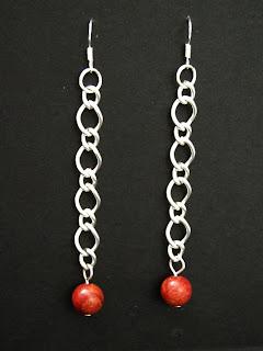 biżuteria z półfabrykatów - koral z łańcuszkiem (kolczyki)