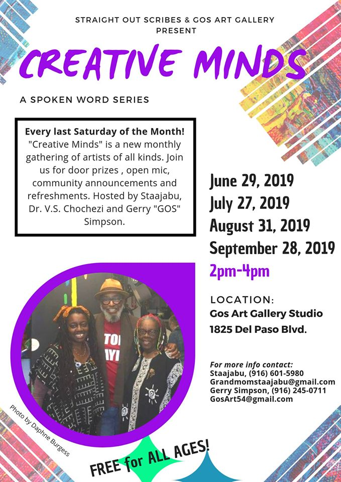 CREATIVE MINDS in Sac. Sat. (7/27)