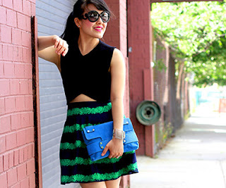 J.Crew striped green navy skirt