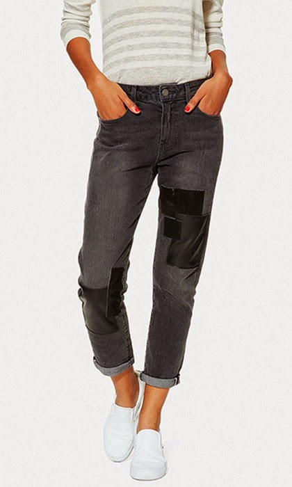 Trending Fashion 2015 - Leather-patched boyfriend jeans