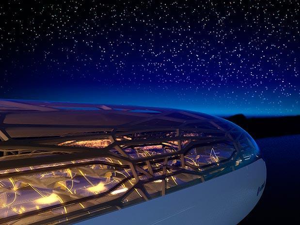 Detalhes teto transparente do avião da Air Bus