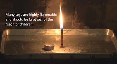Side by side comparison of a lit tealight and a burning crayon