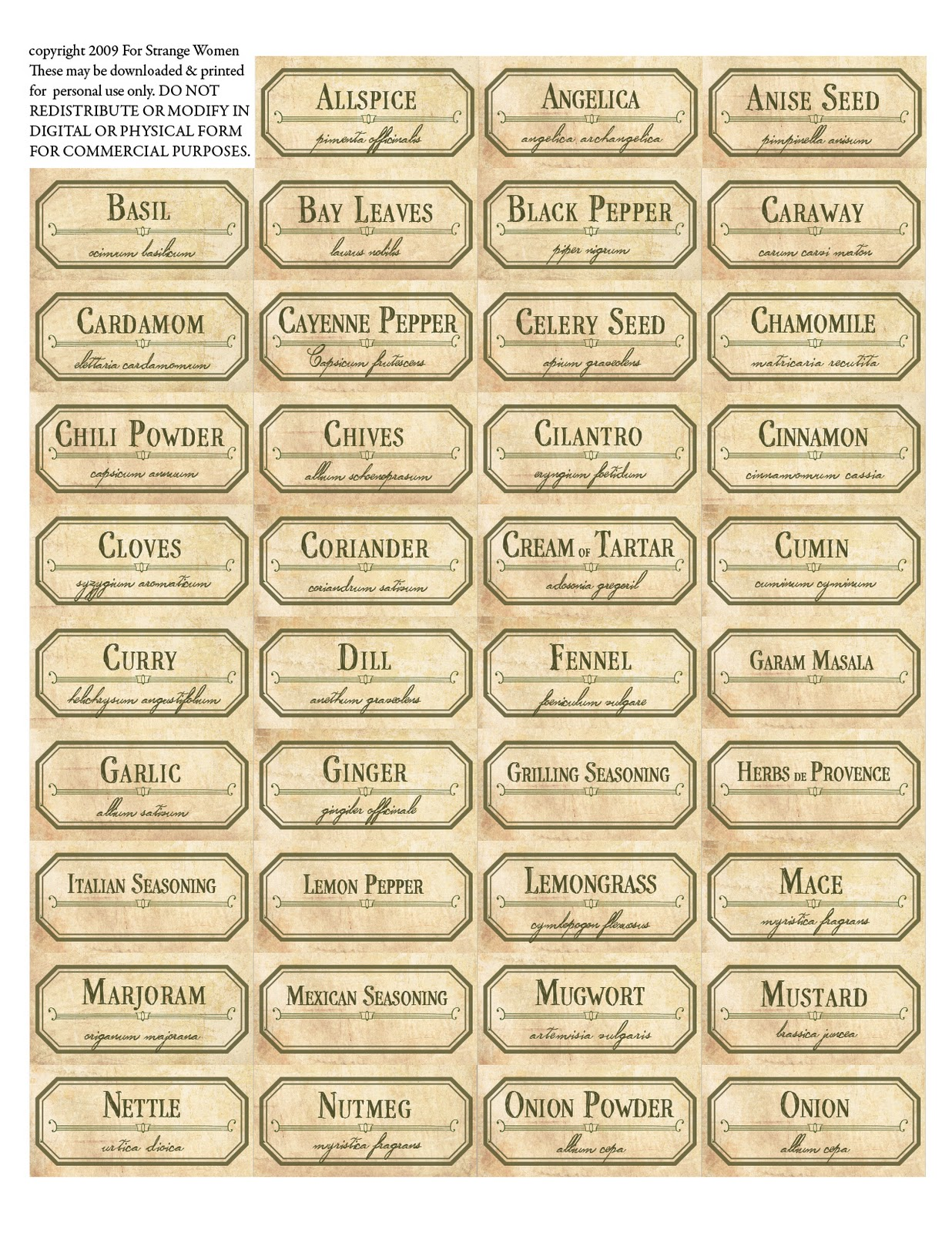 Resource image regarding free printable spice labels