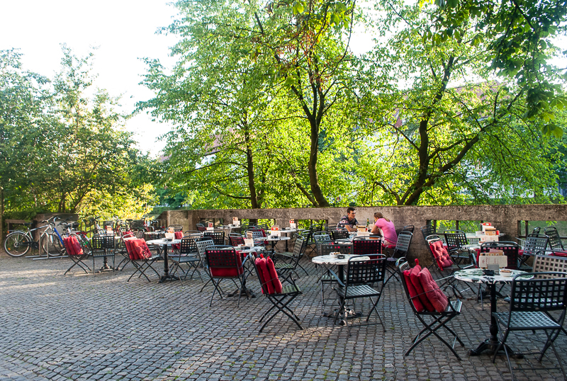 walking around alfresco dining cafes in ljubljana, slovenia