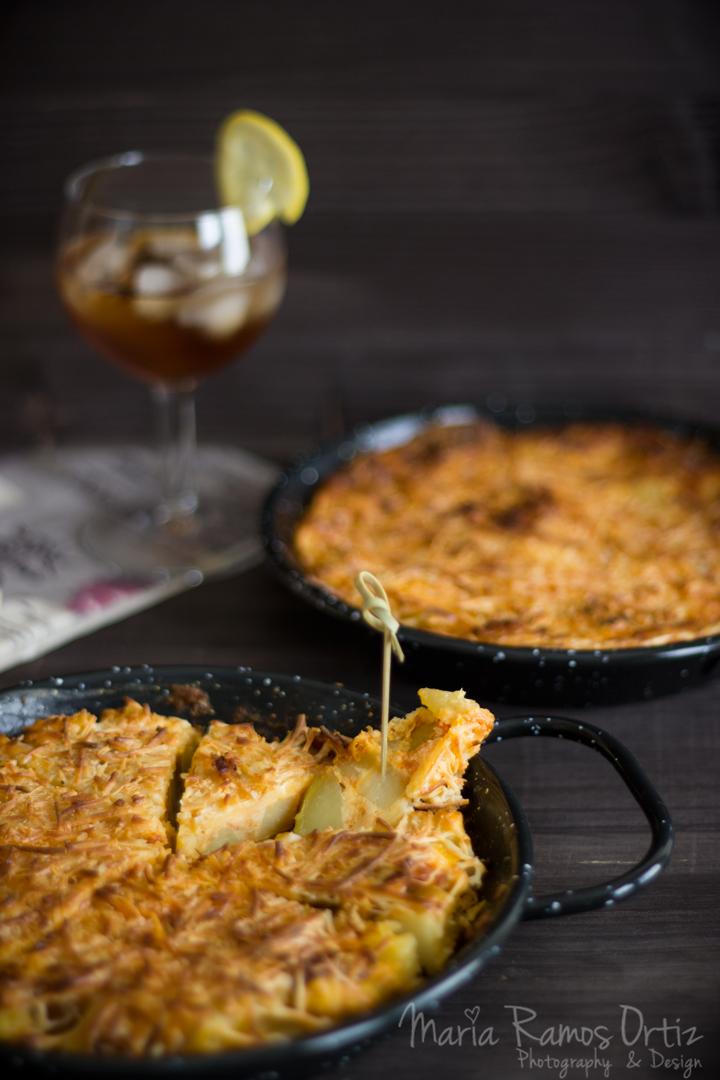 tortilla de chorizo gratinada cocinando espero