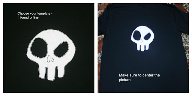 DIY Skull T-Shirt, choosing a template and placing in on the shirt