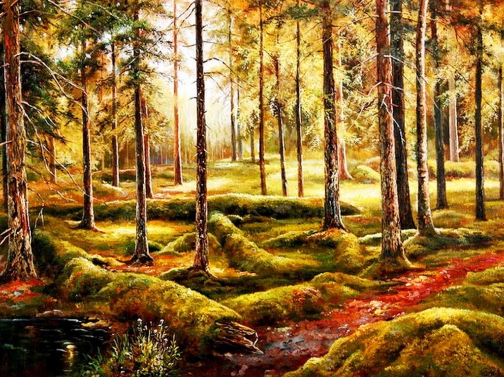 Cuadros modernos cuadros paisajes naturales al leo - Pinturas para suelos de garajes ...