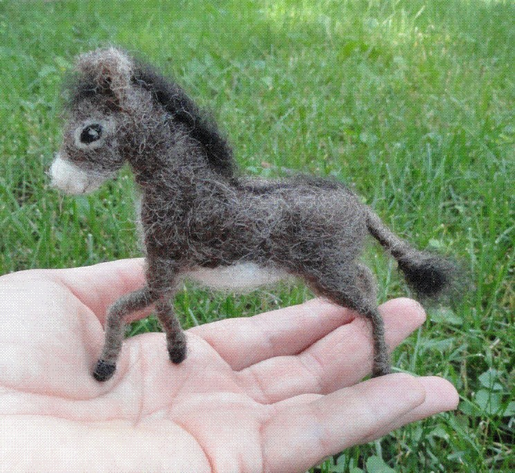 Needle felted miniature donkey