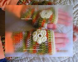Mis mitones sin dedos tejidos a crochet