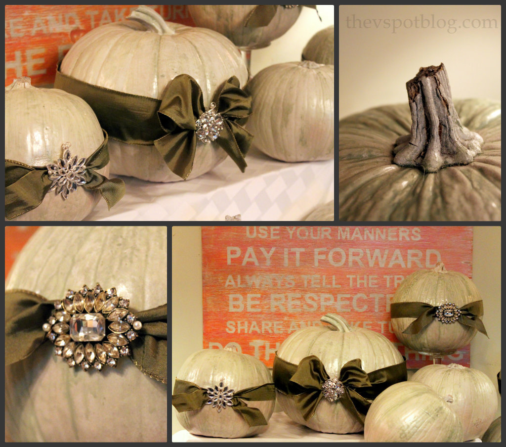 Turning plain pumpkins into elegant pumpkins for for Cheap thanksgiving table decorations
