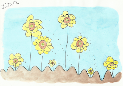 dessin d'enfant, le champ de tournesols sans pesticides