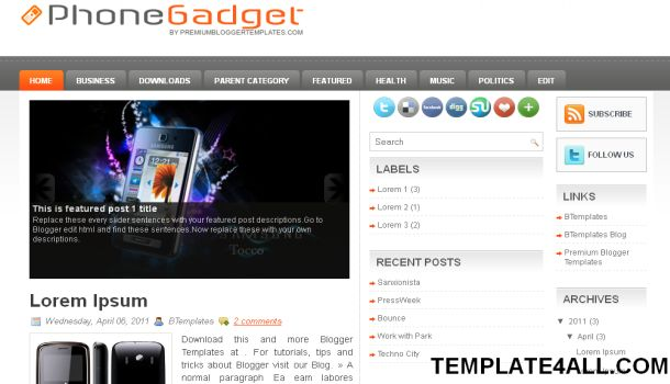 Technology Phones Gadgets Blogger Template