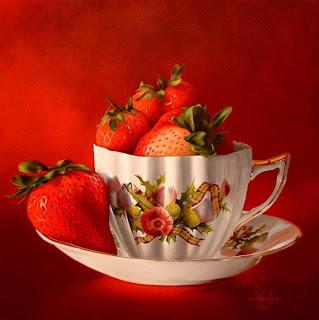 taza de desayuno con fresas