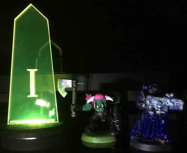 LED Objective Marker, LED base, lit objective, LED miniatures, powered play gaming, battle gaming one