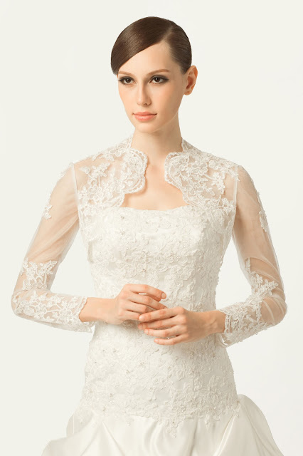 Long-sleeve lace wedding jacket