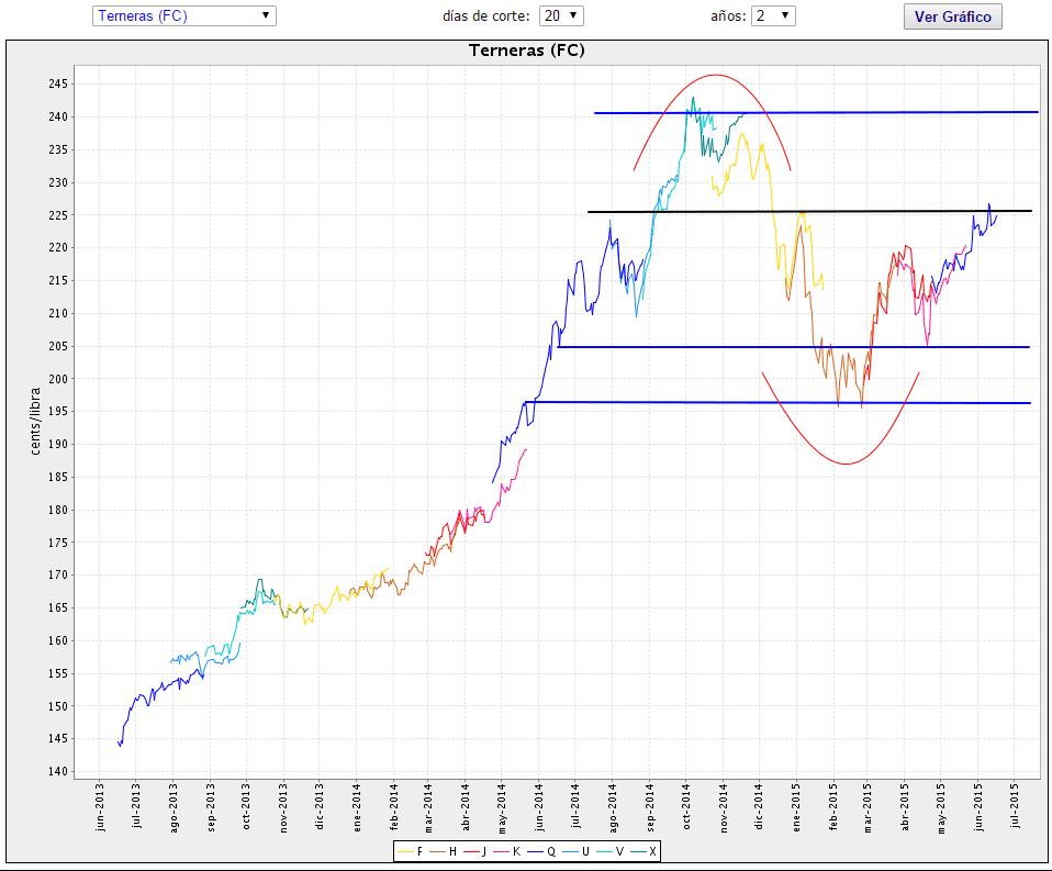 Feeder Cattle futures continuous chart gráfico continuo futuros terneros Scarr Visual Trading