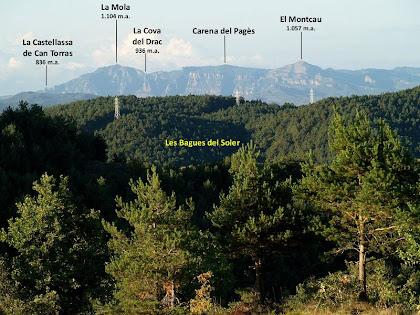 La serralada de Sant Llorenç del Munt per sobre les Bagues del Soler