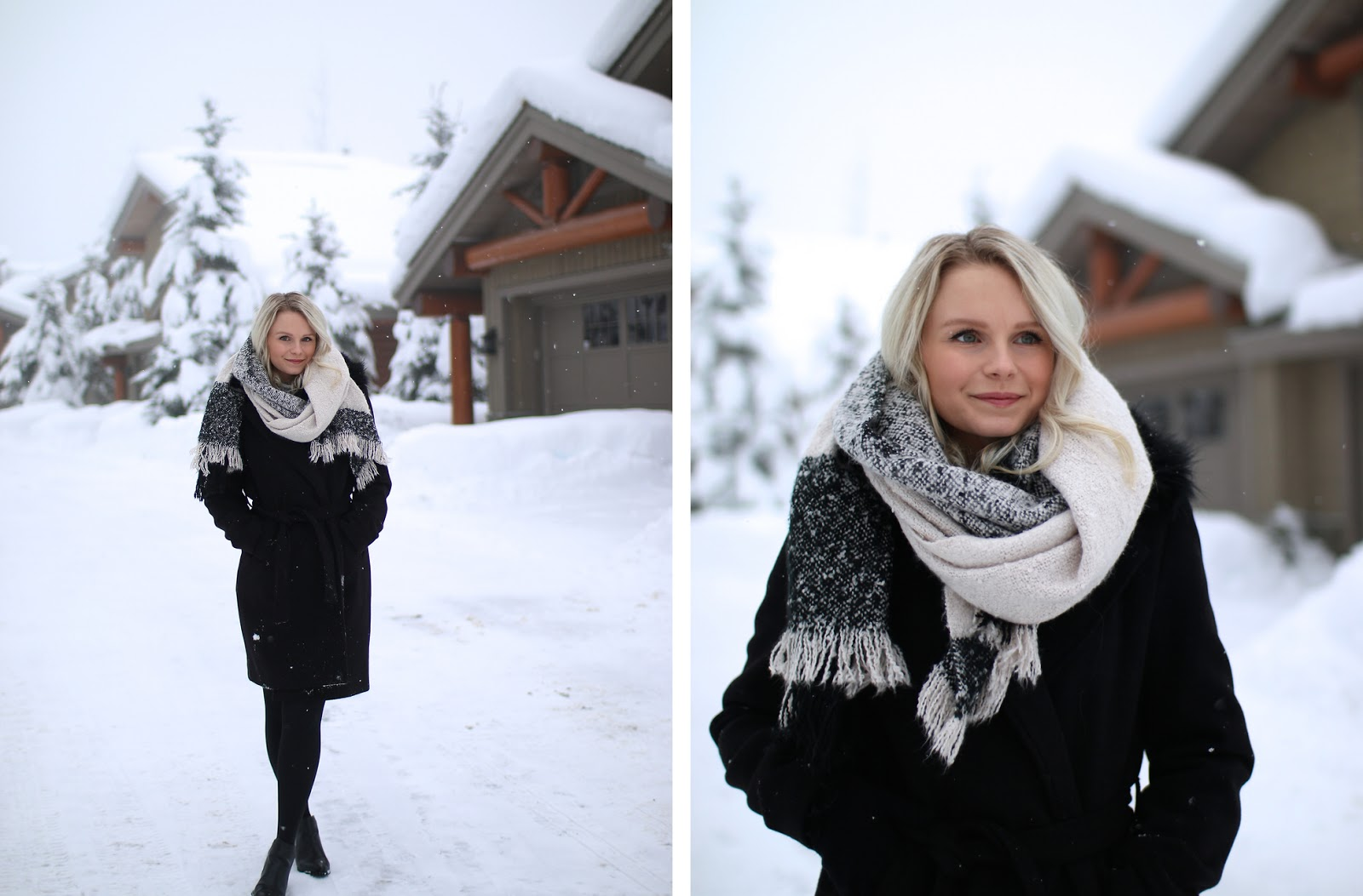 how to wear an oversized scarf and layer with warm clothing