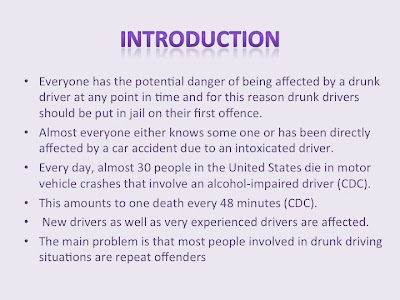 drunk driving essay intro The only benefit of increased drunk driving fines goes to the law enforcement agency that collects the fines because the majority of dui stops happen to while the fight against drunk driving seems to have no end, many other solutions exist besides the raising of fines one such solution lies in education.
