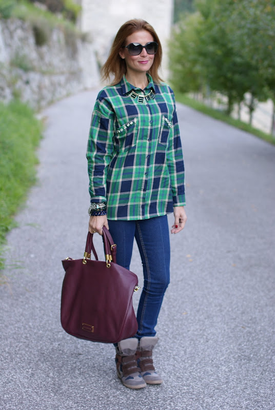 Zara plaid print shirt, Lemaré sneakers
