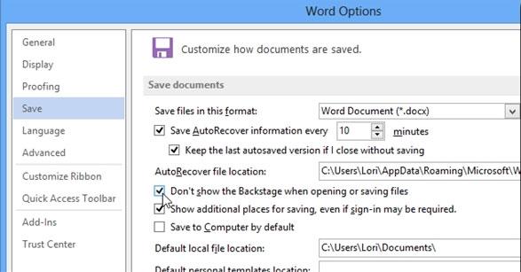 Bỏ qua tùy chọn nơi lưu trữ tập tin Office 2013 3
