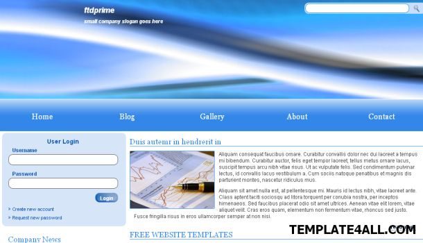 Free html corporate company bleu web template ftdprime blue business css template wajeb