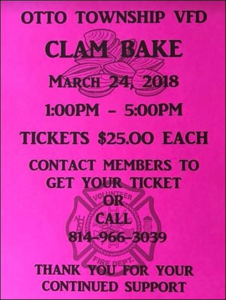 3-24 Otto Twp. VFD Clam Bake