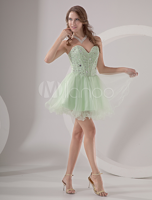 China Wholesale Homecoming Dresses - Mint Green Strapless Beading Organza Homecoming Dress